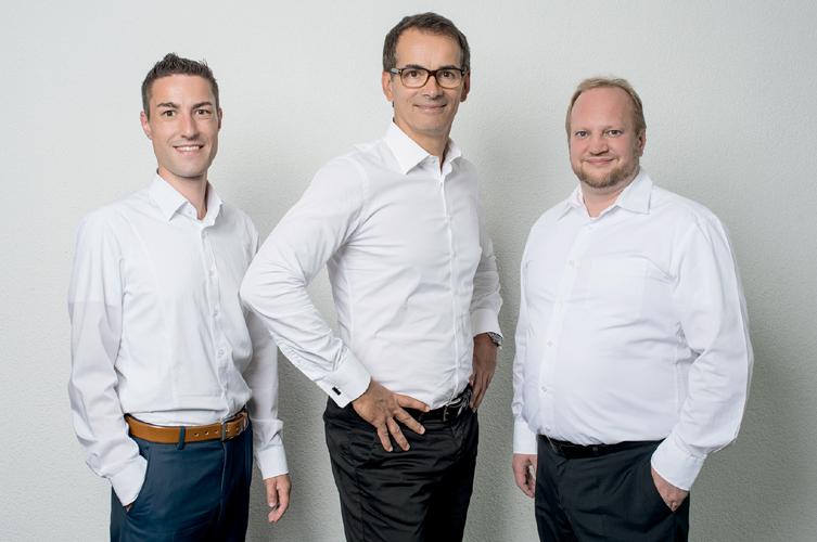 v.l.n.r. Stephan Bail (CTO), Andreas Bortoli (GF) und Volker Lehnert