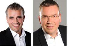 Kooperation besiegelt: Vertriebsleiter Christos Golias (links) von der Tarox AG hat mit General Manager Thomas Müller (rechts) von der Viewsonic GmbH die Partnerschaft für den Fachhandel vereinbart